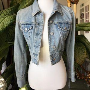 Blue Denim Crop Jean Jacket by GAP XS